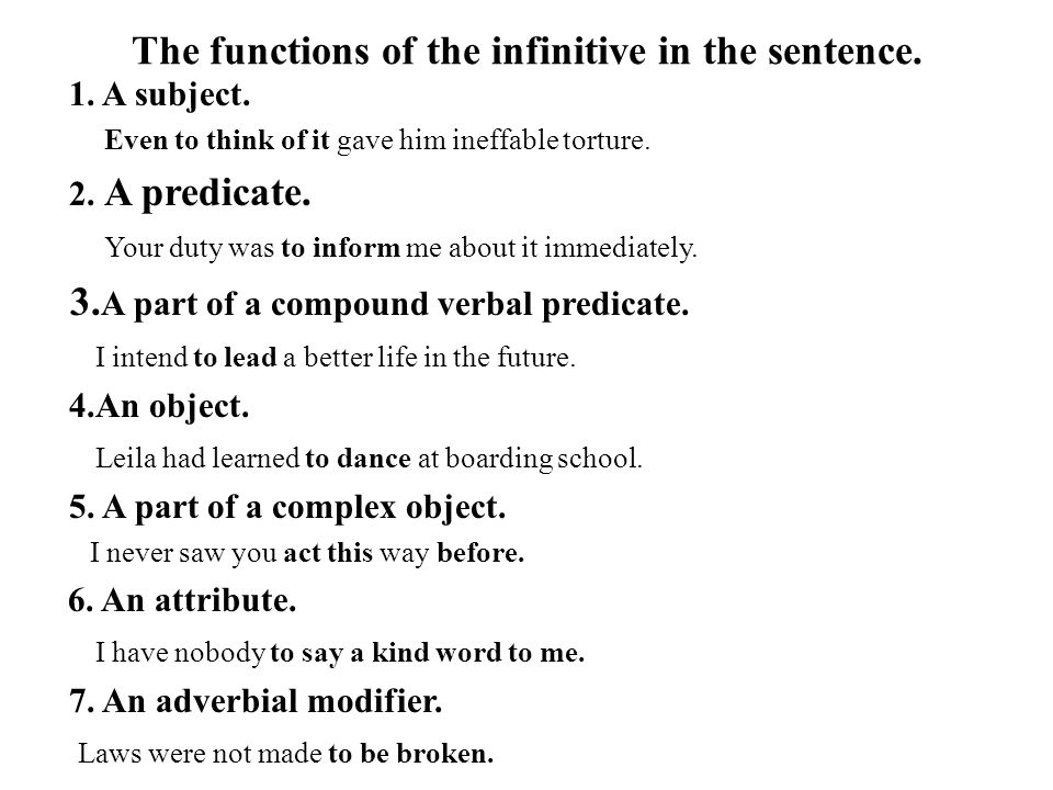 The functions of the infinitive in the sentence.