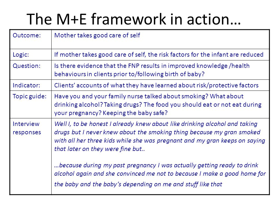 The M+E framework in action…