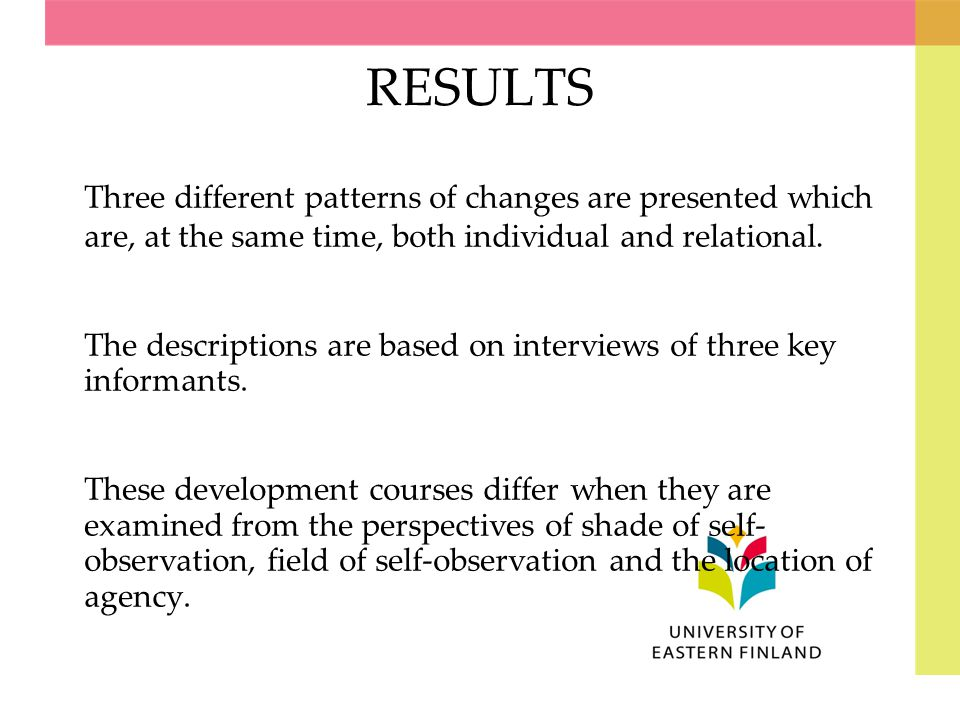 RESULTS Three different patterns of changes are presented which are, at the same time, both individual and relational.