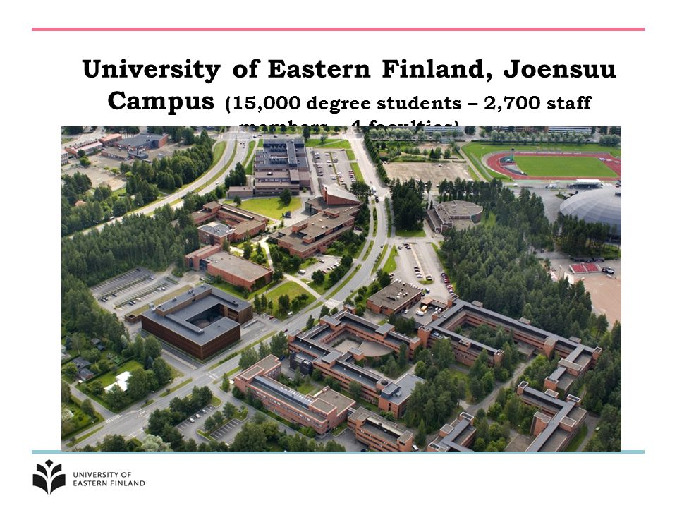 University of Eastern Finland, Joensuu Campus (15,000 degree students – 2,700 staff members – 4 faculties)