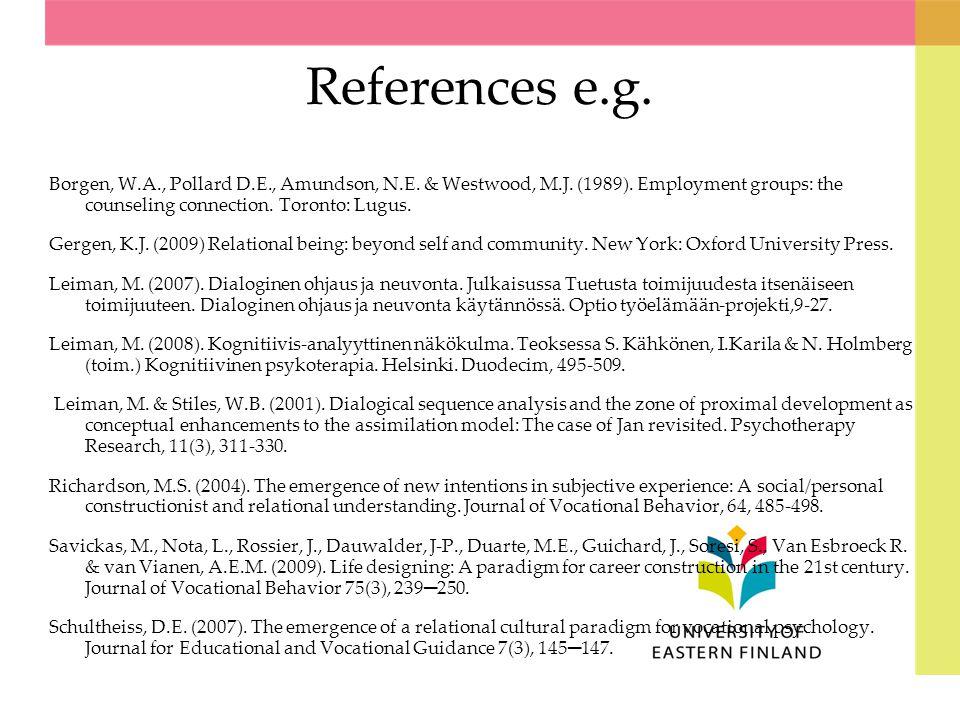 References e.g.