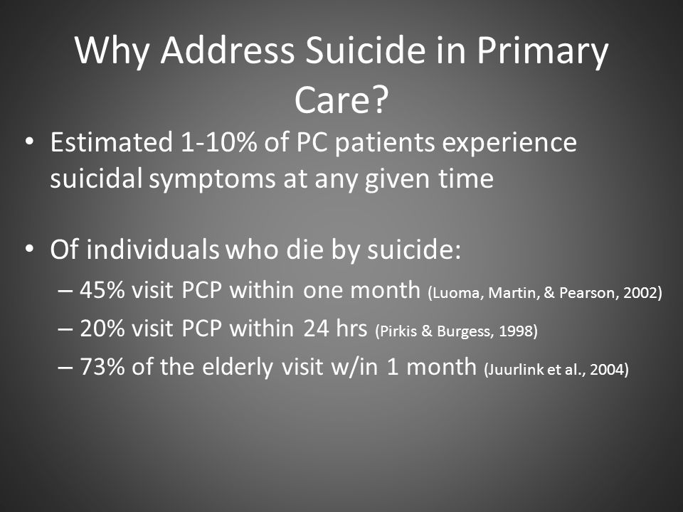 Why Address Suicide in Primary Care