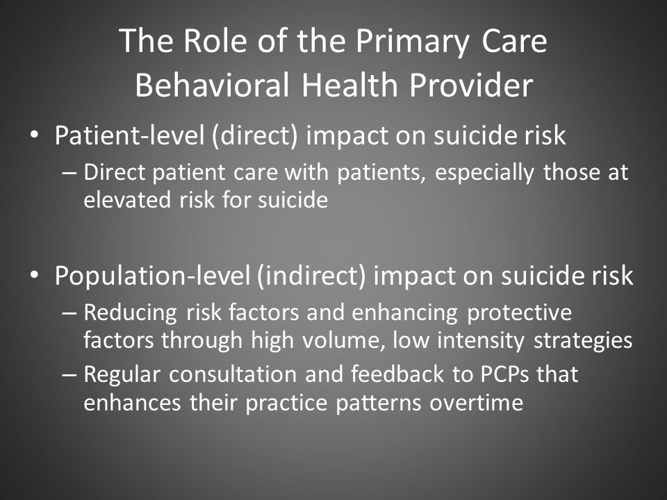 The Role of the Primary Care Behavioral Health Provider