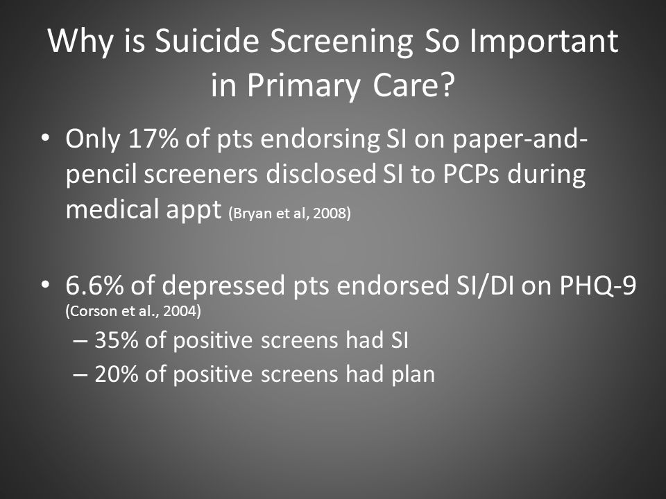 Why is Suicide Screening So Important in Primary Care