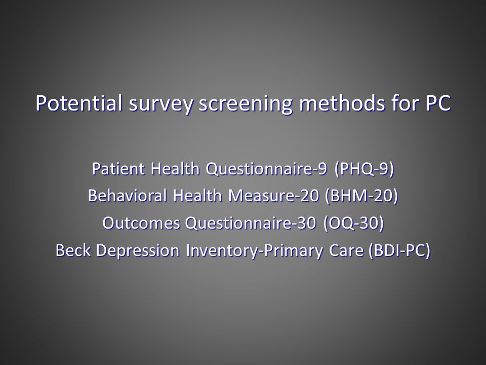 Potential survey screening methods for PC