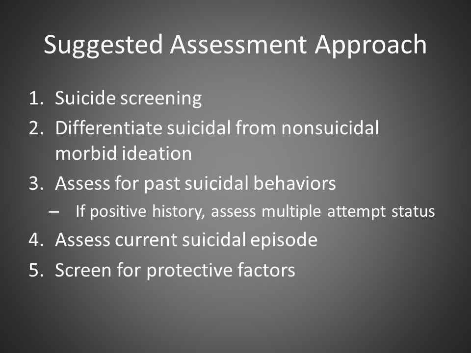 Suggested Assessment Approach