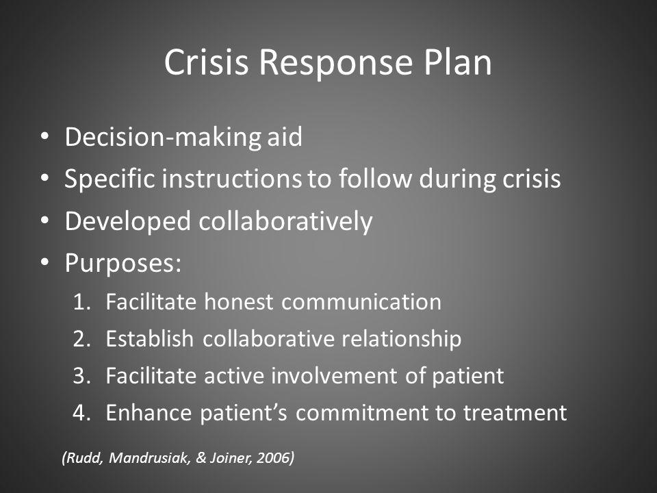 Crisis Response Plan Decision-making aid