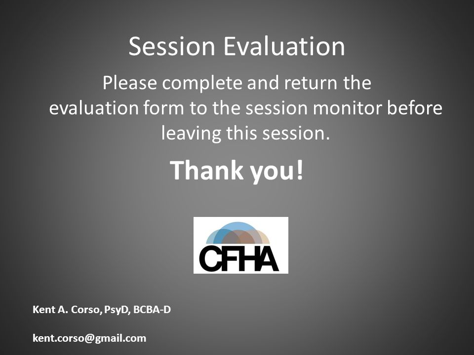 Session Evaluation Thank you!