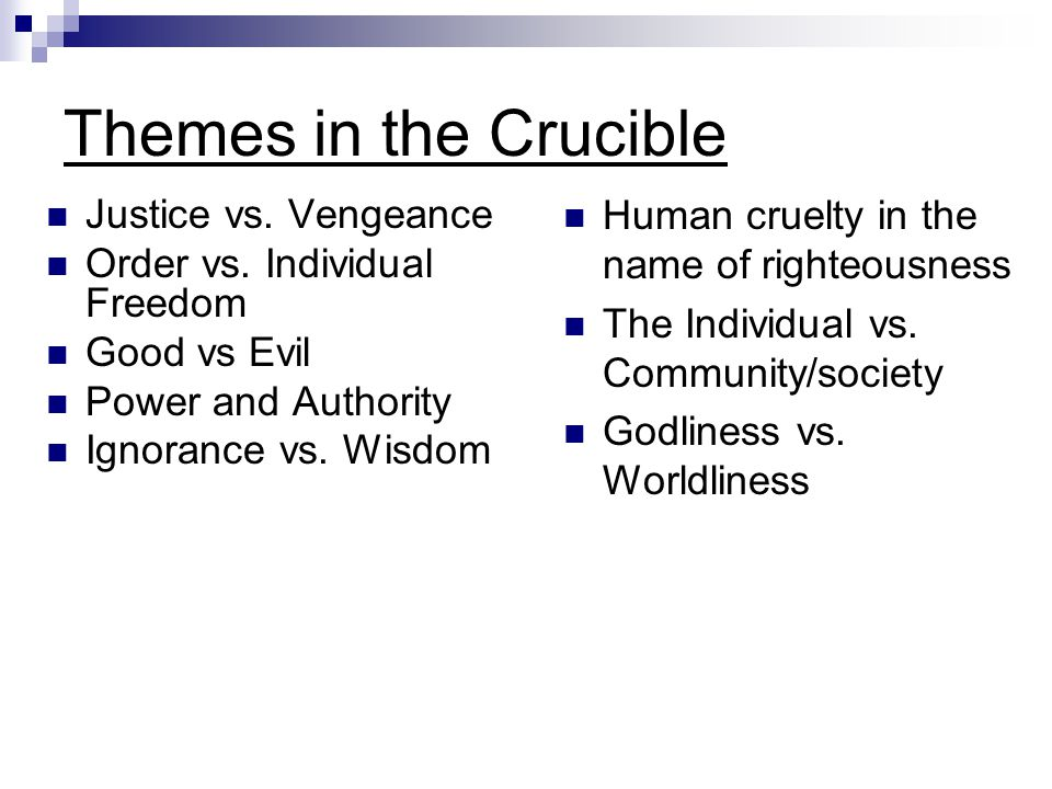 crucible themes fear guilt and revenge Need help on themes in arthur miller's the crucible check out our thorough thematic analysis from the creators of sparknotes  fear feeds fear: in order to .