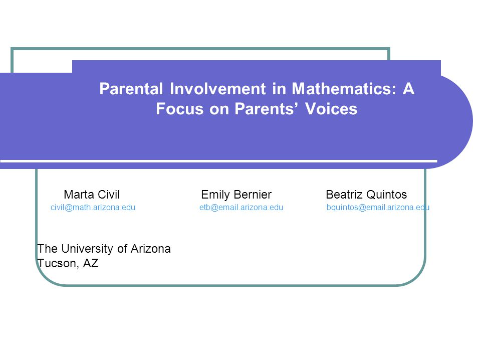 Parental Involvement in Mathematics: A Focus on Parents' Voices