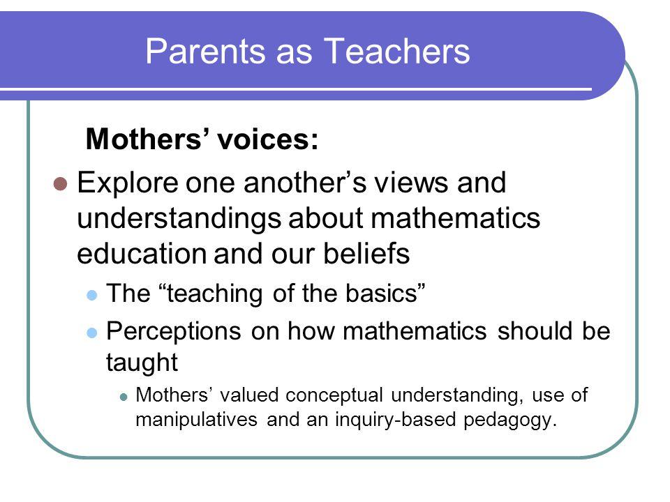 Parents as Teachers Mothers' voices: