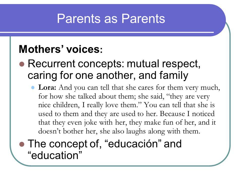 Parents as Parents Mothers' voices: