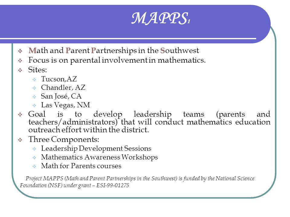 MAPPS1 Math and Parent Partnerships in the Southwest