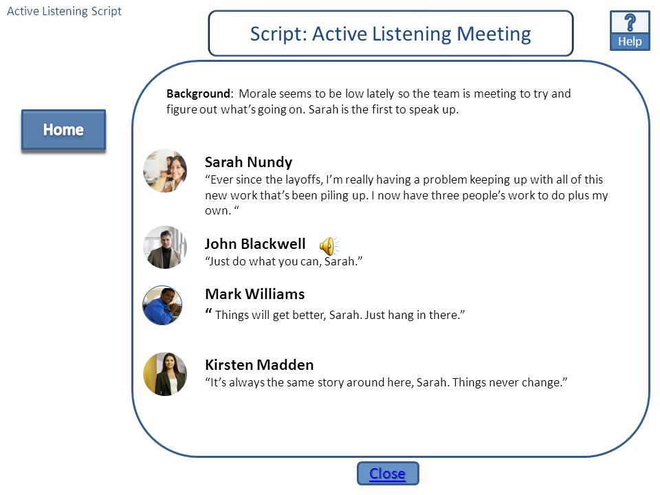 Script: Active Listening Meeting