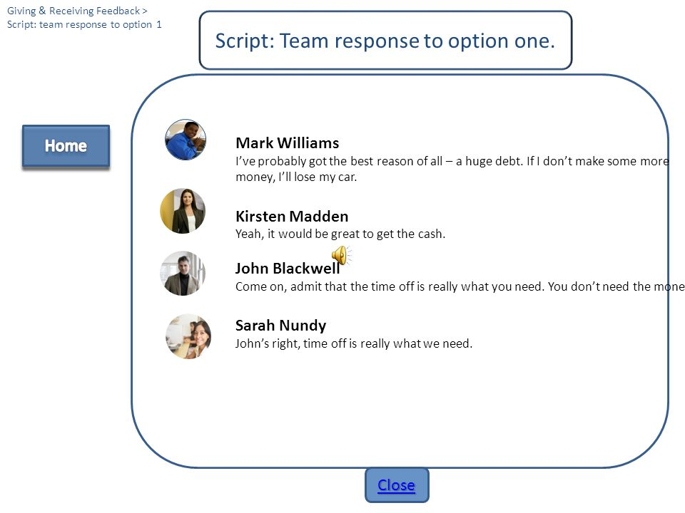 Script: Team response to option one.