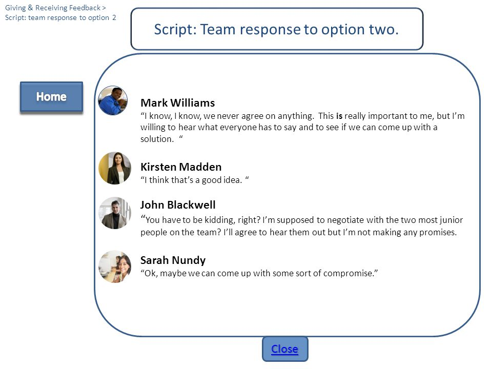 Script: Team response to option two.