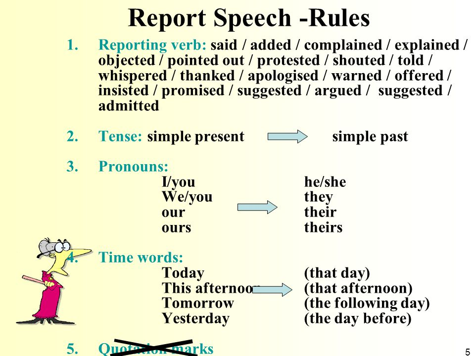 Report Speech -Rules