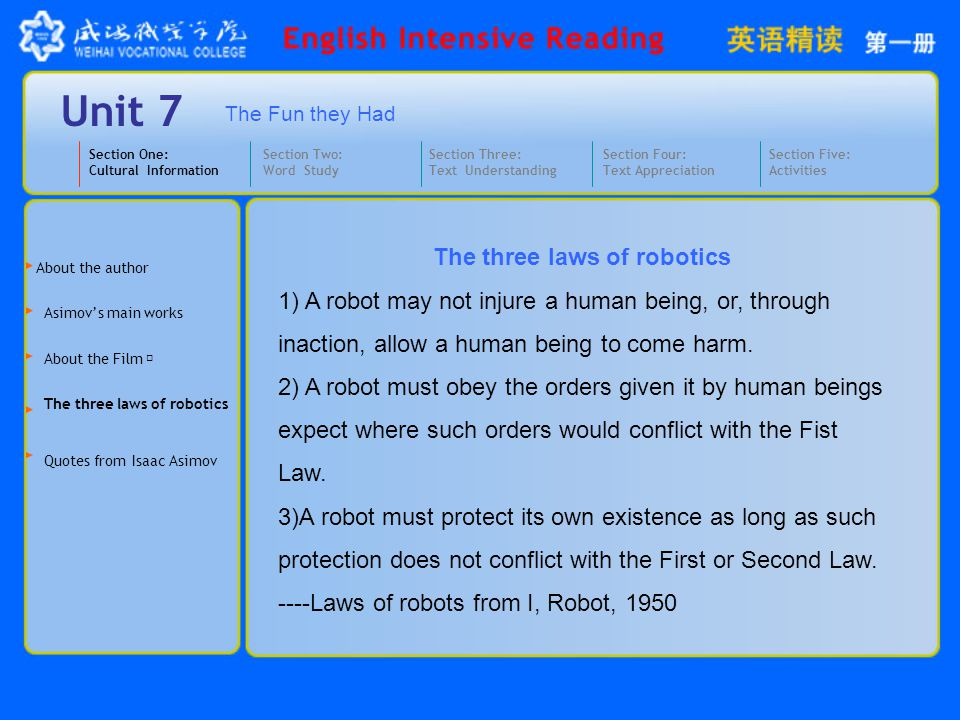 The three laws of robotics