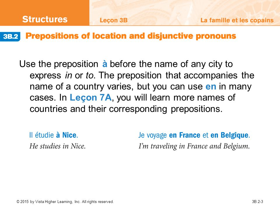 Use the preposition à before the name of any city to express in or to