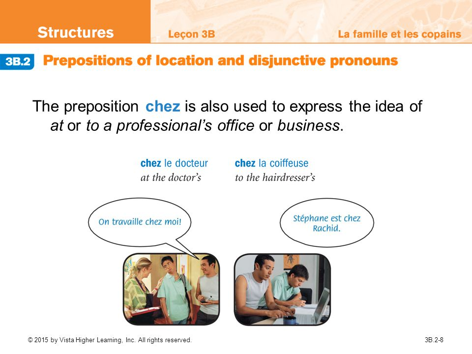 The preposition chez is also used to express the idea of at or to a professional's office or business.
