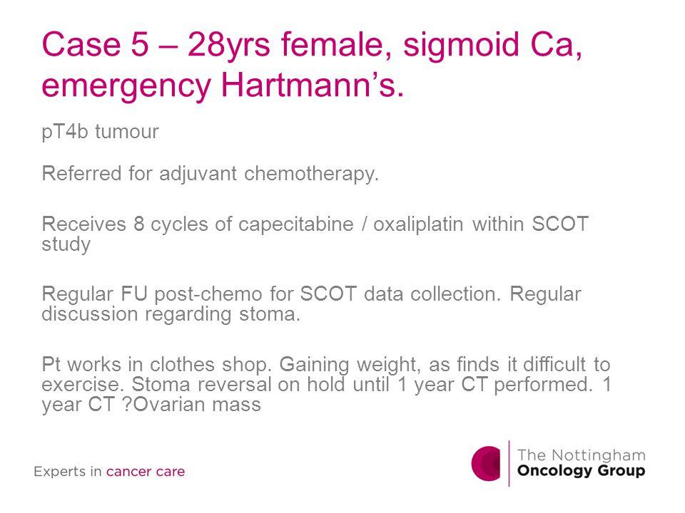 Case 5 – 28yrs female, sigmoid Ca, emergency Hartmann's.