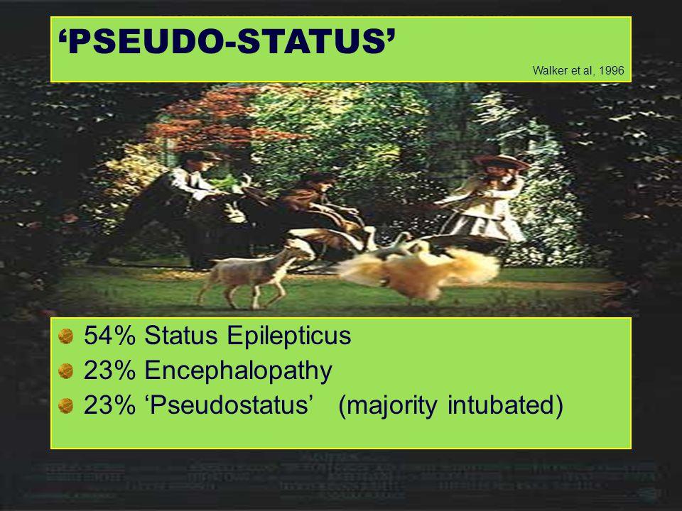 'PSEUDO-STATUS' 54% Status Epilepticus 23% Encephalopathy