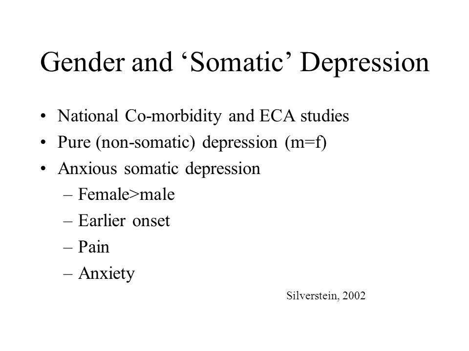 Gender and 'Somatic' Depression