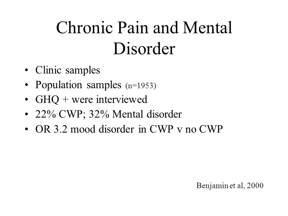 Chronic Pain and Mental Disorder