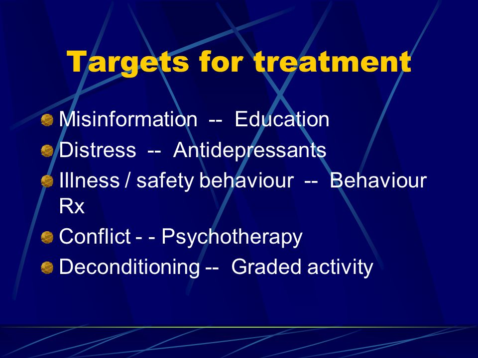Targets for treatment Misinformation -- Education