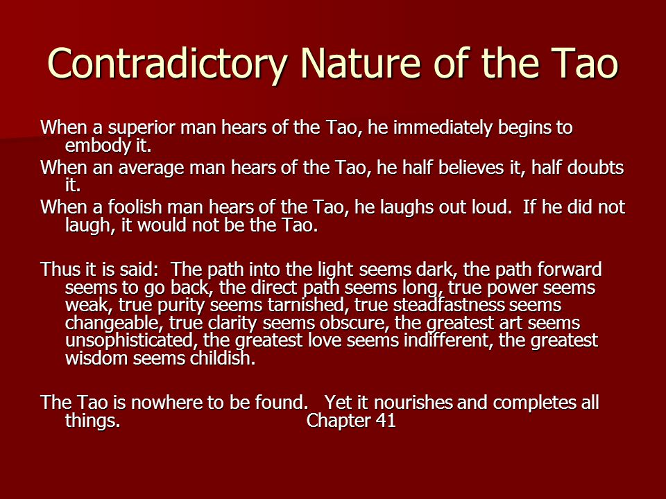 Contradictory Nature of the Tao