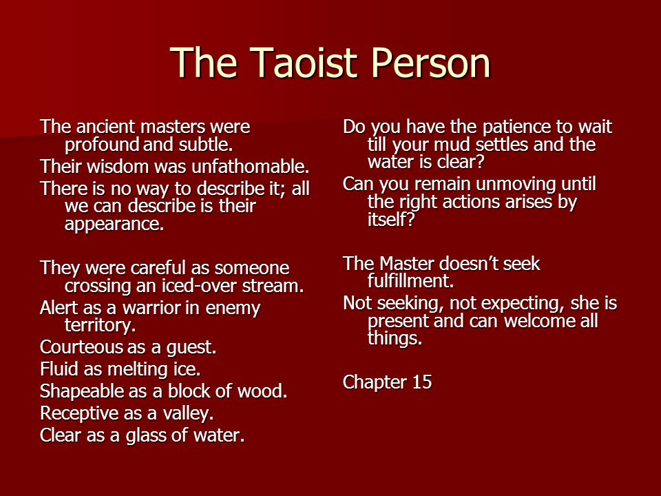 The Taoist Person The ancient masters were profound and subtle.
