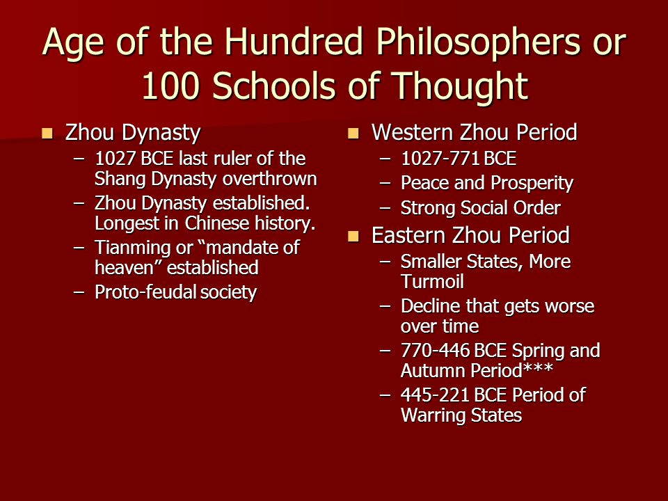 Age of the Hundred Philosophers or 100 Schools of Thought