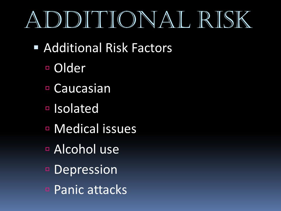 ADDITIONAL RISK Additional Risk Factors Older Caucasian Isolated