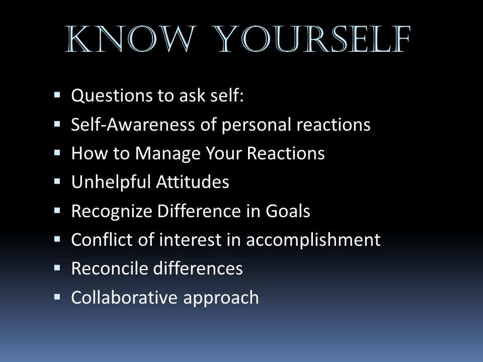 KNOW YOURSELF Questions to ask self: