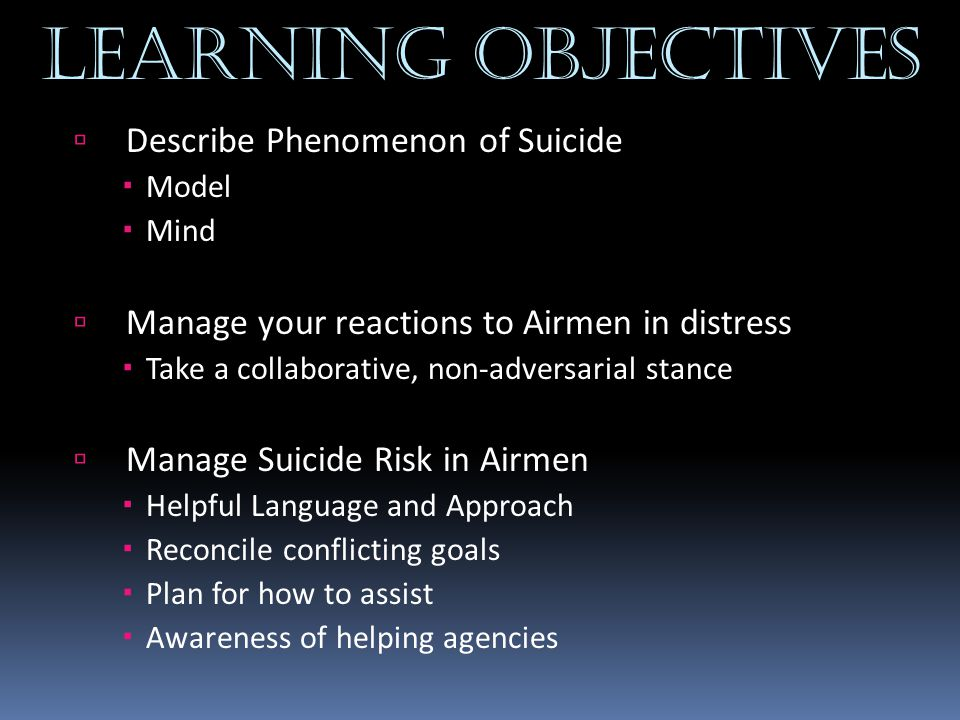 Learning objectives Describe Phenomenon of Suicide