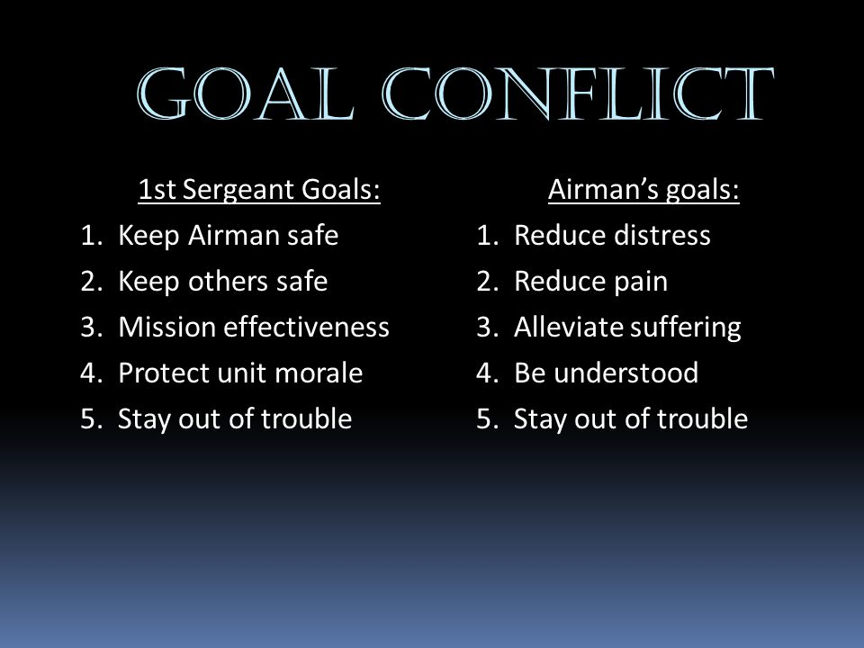 GOAL CONFLICT 1st Sergeant Goals: 1. Keep Airman safe