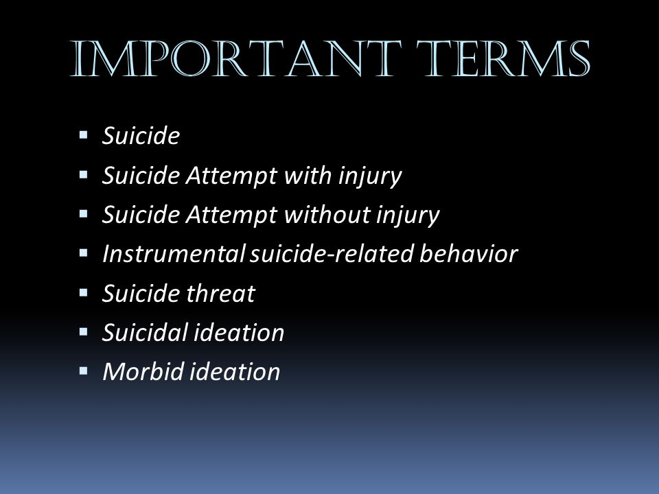 IMPORTANT TERMS Suicide Suicide Attempt with injury