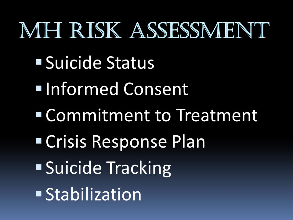 MH RISK ASSESSMENT Suicide Status Informed Consent