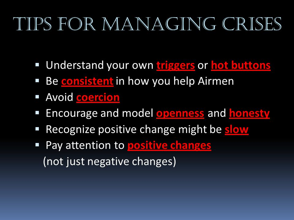 Tips for managing crises