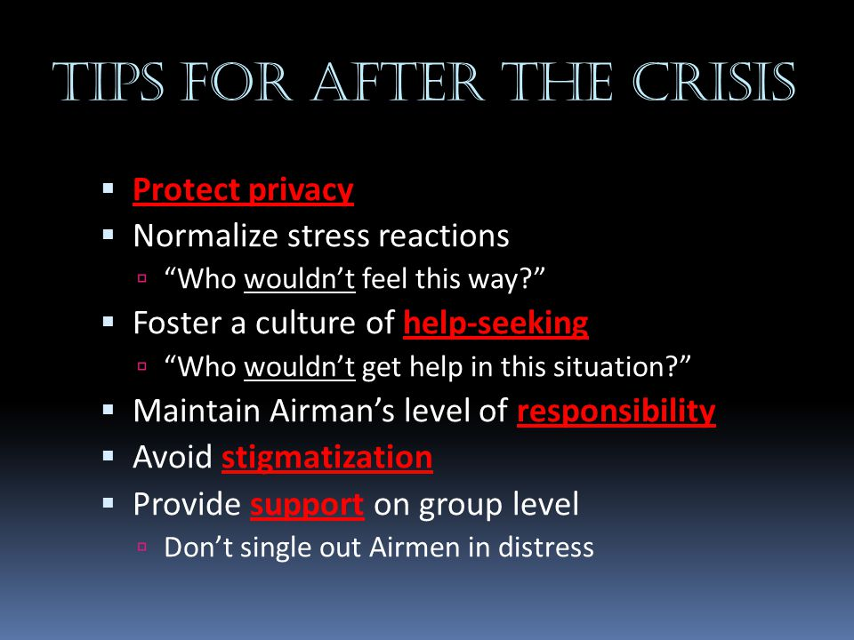 Tips for after the crisis