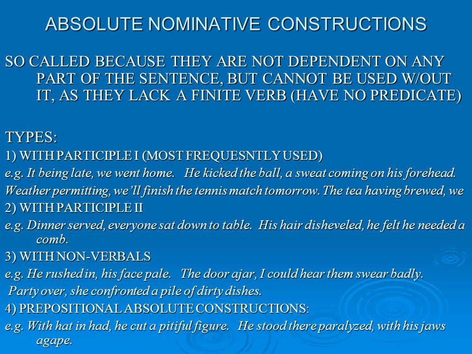 ABSOLUTE NOMINATIVE CONSTRUCTIONS
