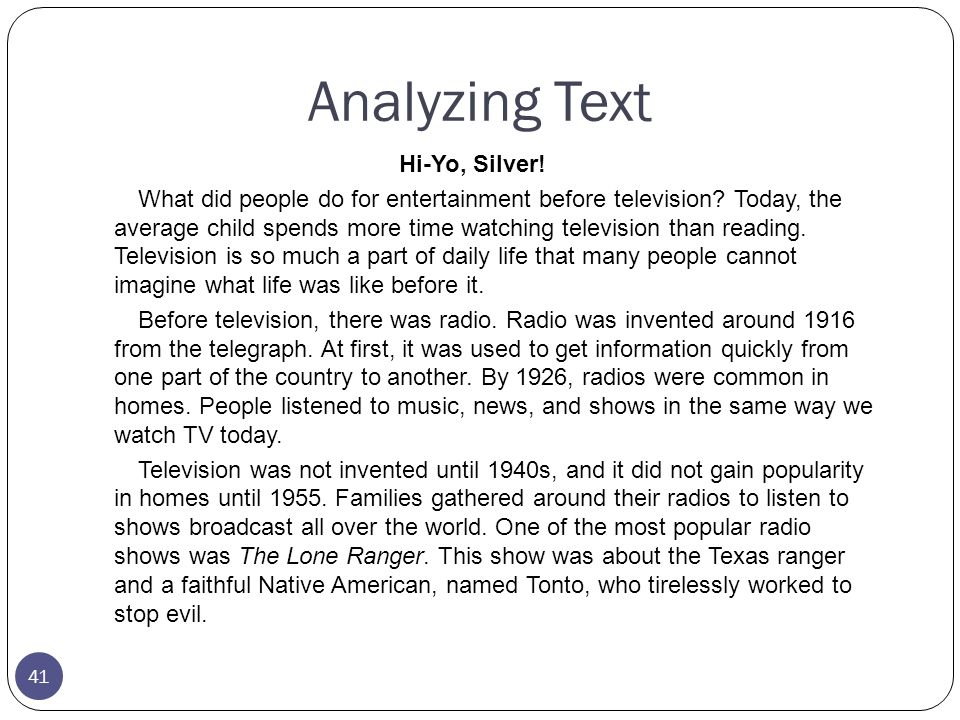 Analyzing Text Hi-Yo, Silver!