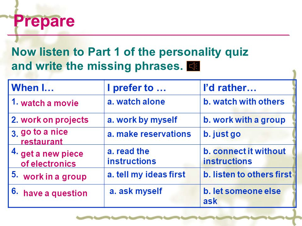 Prepare Now listen to Part 1 of the personality quiz and write the missing phrases. When I… I prefer to …
