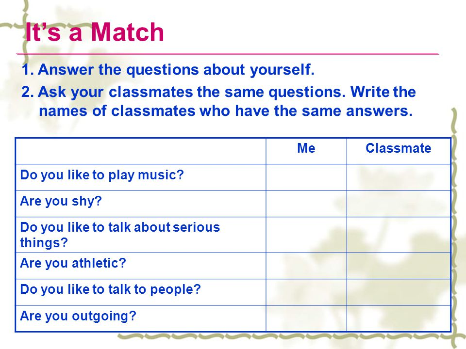 It's a Match 1. Answer the questions about yourself.