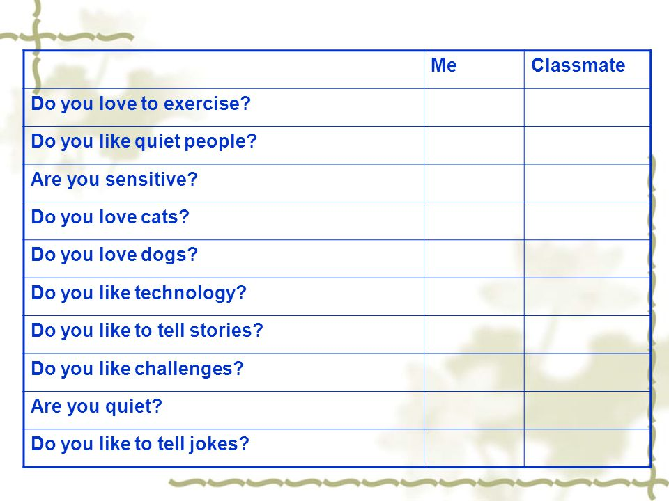 Me Classmate. Do you love to exercise Do you like quiet people Are you sensitive Do you love cats