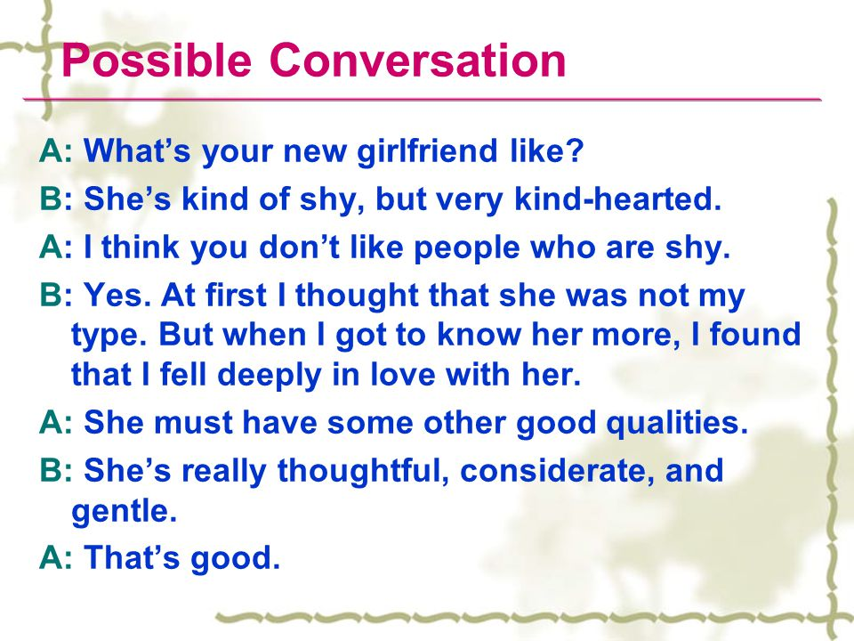 Possible Conversation