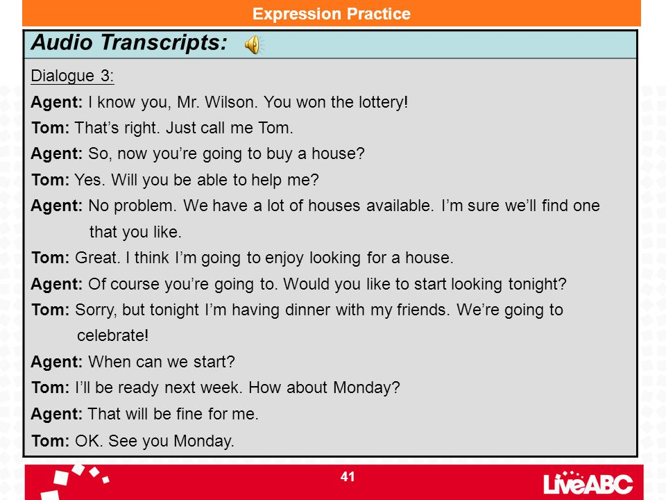 Audio Transcripts: Expression Practice Dialogue 3: