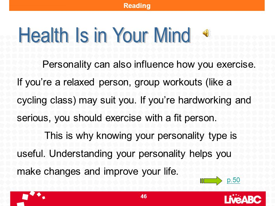 Reading Health Is in Your Mind.