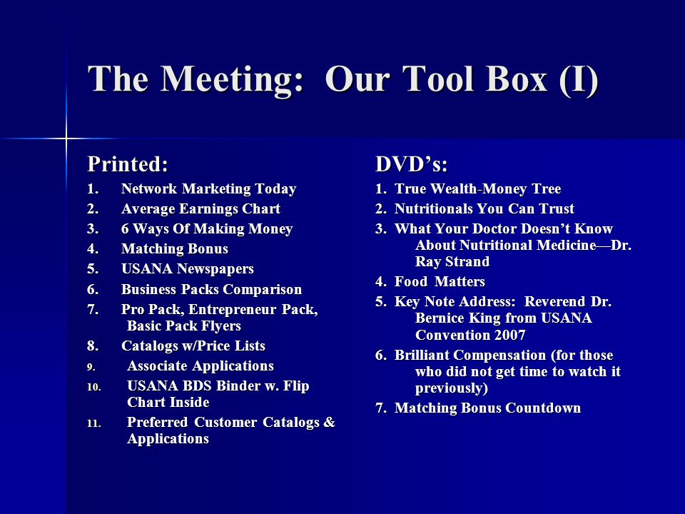The Meeting: Our Tool Box (I)