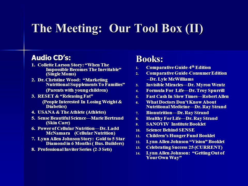 The Meeting: Our Tool Box (II)